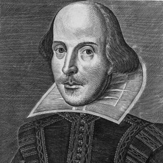 Shakespeare Droeshout portrait, 1623 (public domain)