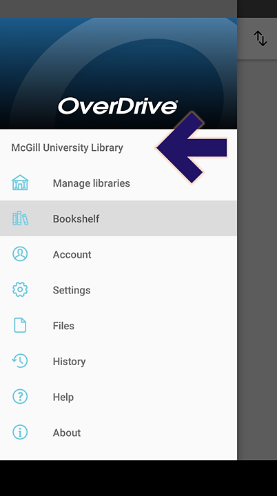 Screenshot of the Overdrive app on an Android phone, showing the open main menu, with an arrow pointing to the McGill University Library link.