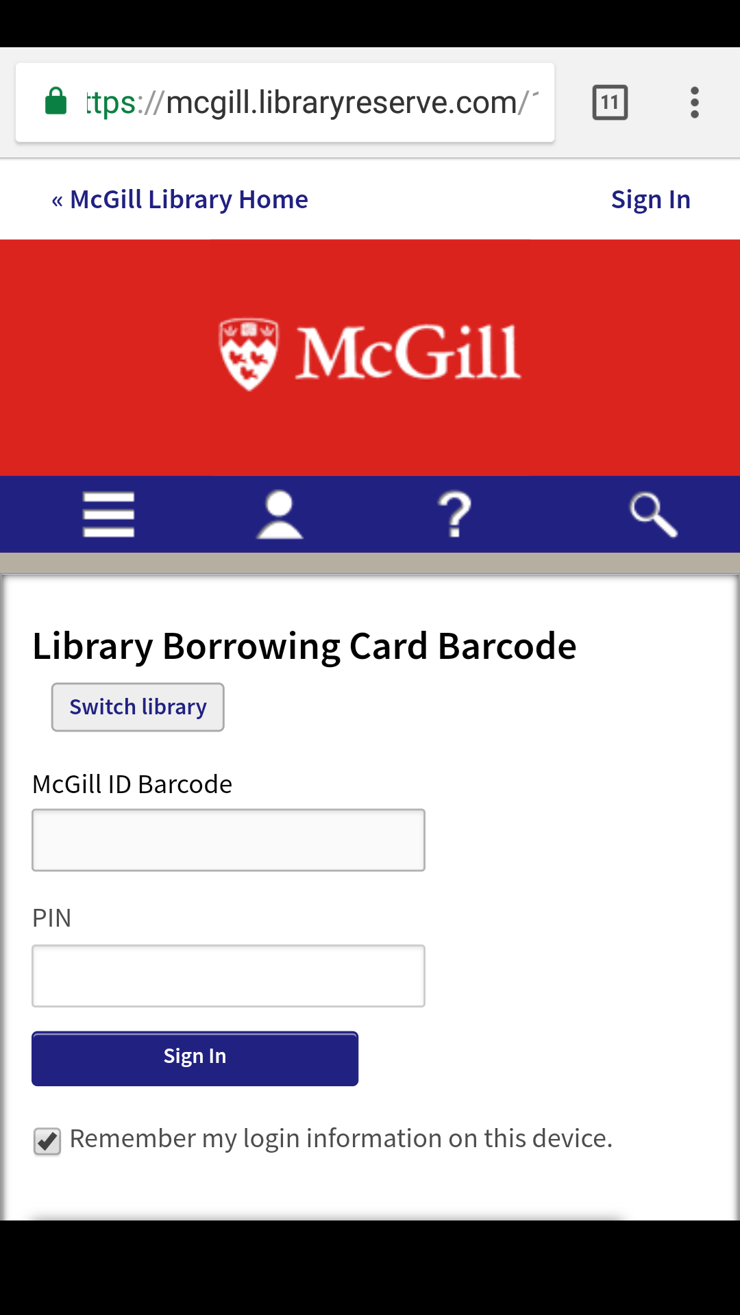 Screenshot on an Android phone showing the Library Borrowing Card Barcode sign-in page.