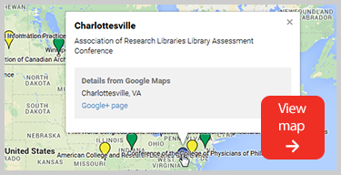 Screenshot of map of presentations by McGill librarians and Library staff