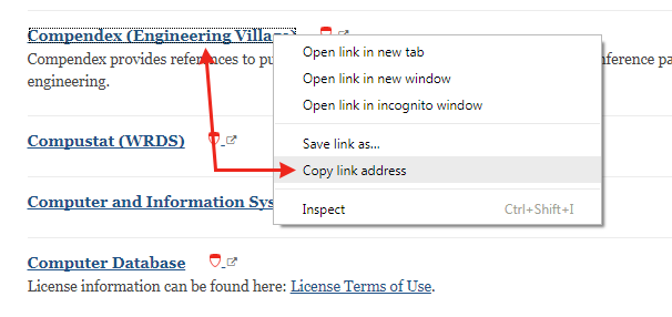 screenshot of copying database link