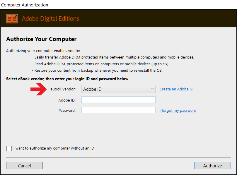 Screenshot of the Authorize Menu, which shows where to enter your adobe ID and password to authorise your computer