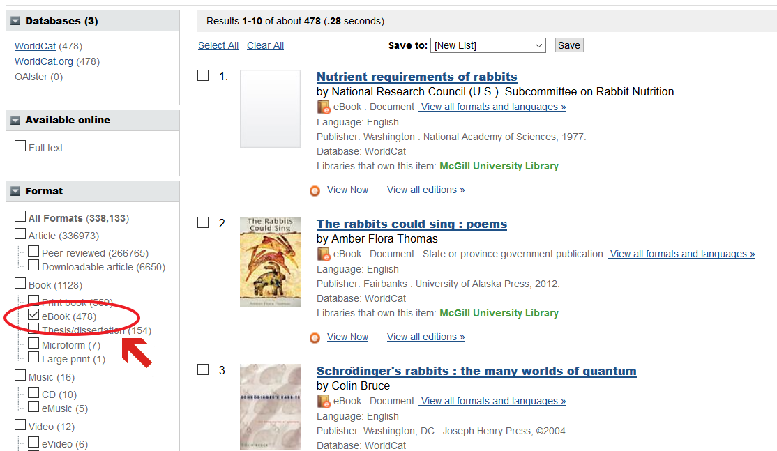 "A screenshot showing the catalogue results for the search term ""rabbits"". On the left side of the Search results page, there are options that can be checked to limit your search results. In this screenshot, the term""ebook"", which is under the ""format"" heading"", is selected."