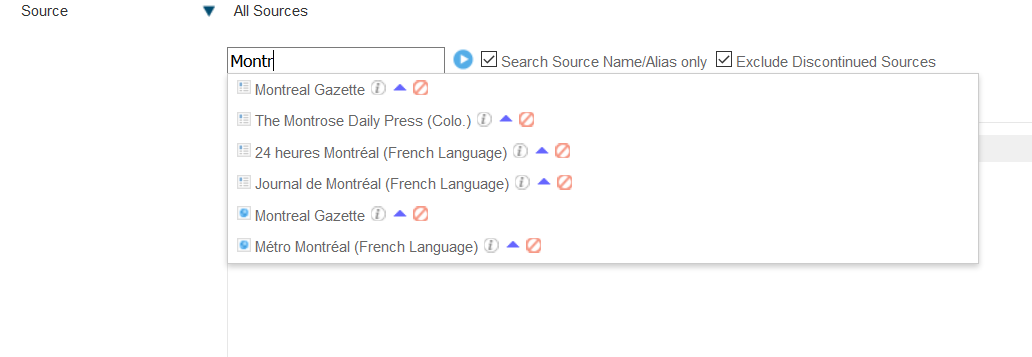 Screenshot of the Factiva source limit menu, showing the small search bar into which you can enter the name of a title.
