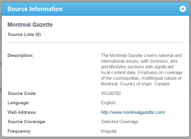 Screenshot of the source details for the Montreal Gazette:website.
