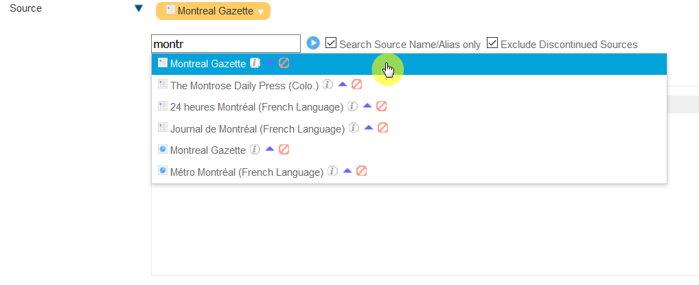 "Screenshot of the source limit menu, showing the sour ""Montreal Gazette"" highlighted with a cursor on it. If you click the name, than it will be added to the search as a limit. You will then only see articles from the Montreal Gazette."