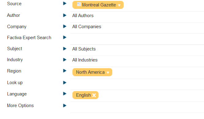 "Screenshot showing other search limits applied in the same process as ""Source"", in this case language = english, and region = north america."