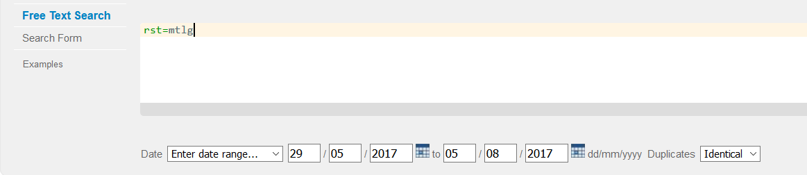 "Screenshot of the search bar, showing a date range added in the ""Date"" limit section."