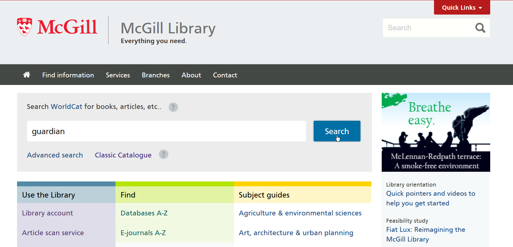 "Screenshot of the main library page, with the word ""Guardian"" typed in to the WorldCat search box"