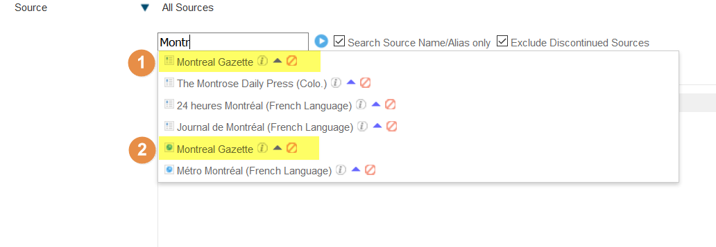 Screenshot showing the source limit search menu, highlighting the fact that there are two sources listed as the Montreal Gazette