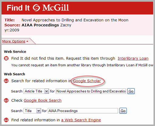 Find It menu for article available via Google Scholar