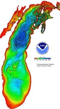 Example of Bathymetry of Lake Michigan data