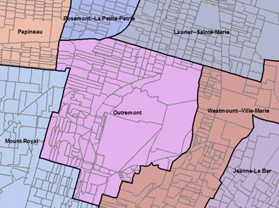 Sample of map showing federal electoral district boundaries (in colour) and the polling division boundaries (in grey)