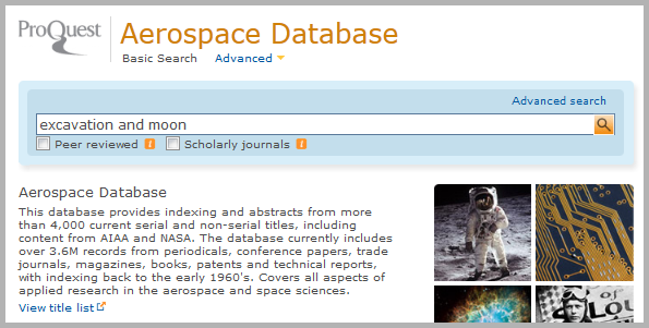 Aerospace Database search page