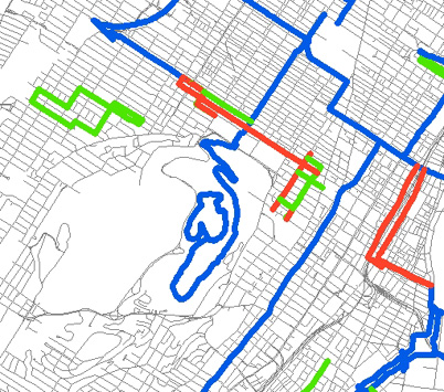 Map produced using the Montreal Bike Path file and a road file