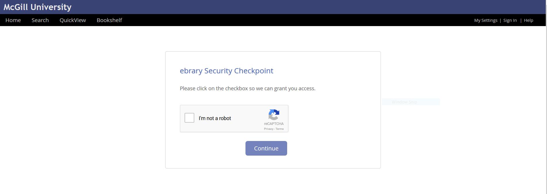 Screenshot Of Ebrary Verification That User Is Not A Robot