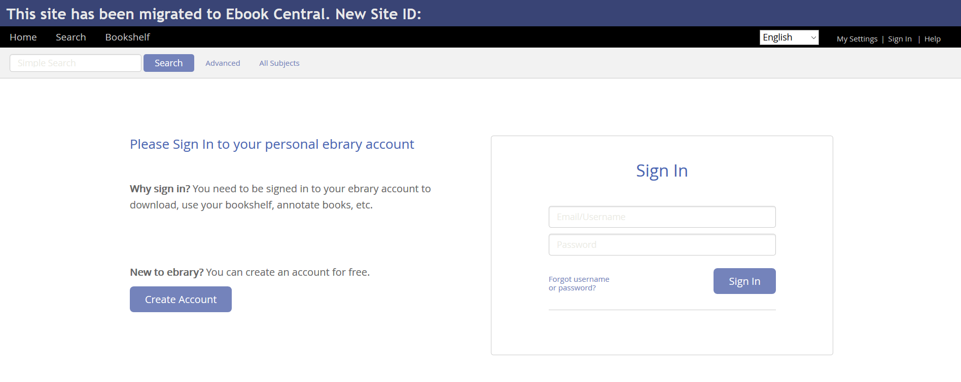 Screenshot Of Sign In Request To Personal Ebrary Account
