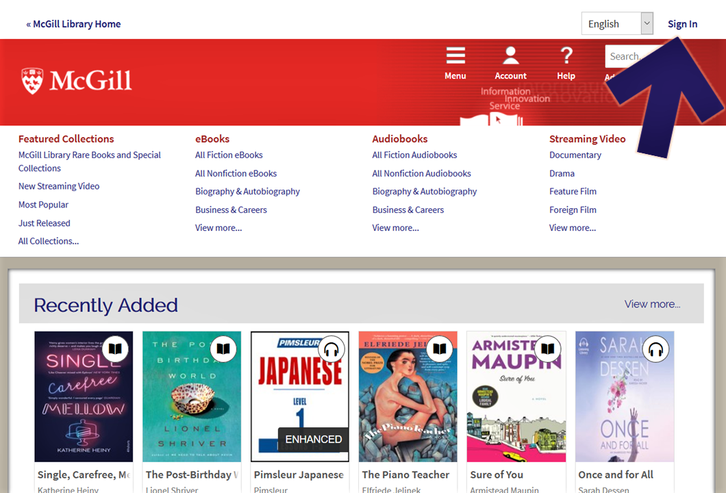"Screenshot of the McGill OverDrive home page, with an arrow pointing to the top right corner, showing the ""Sign In' link"