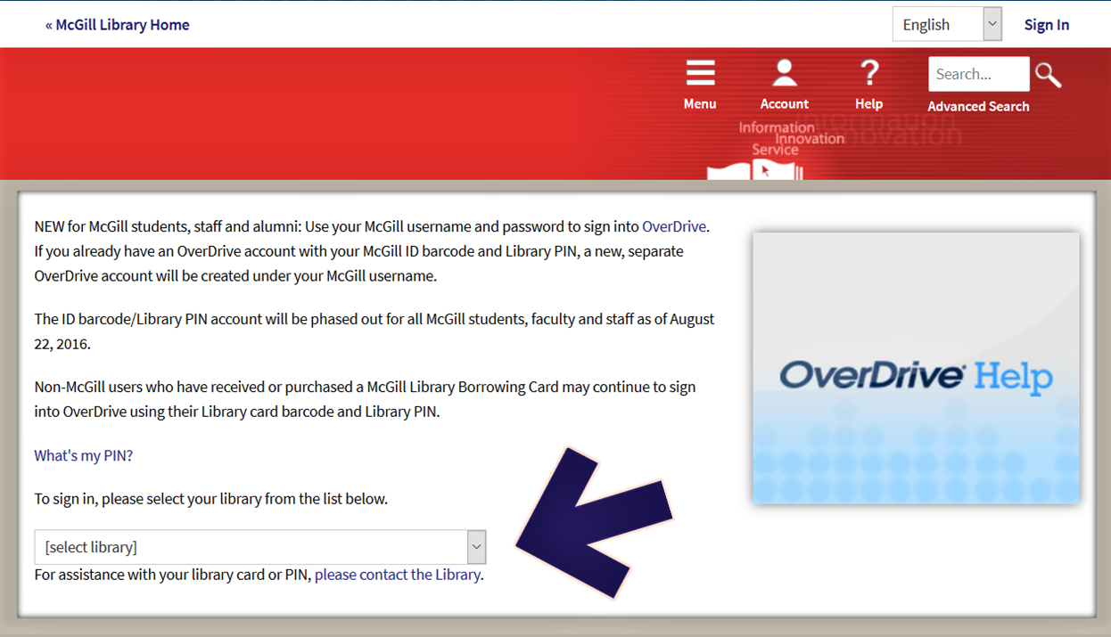 "Screenshot of the McGill login screen on OverDrive, pointing out the ""select library"" box at the bottom of the screen."
