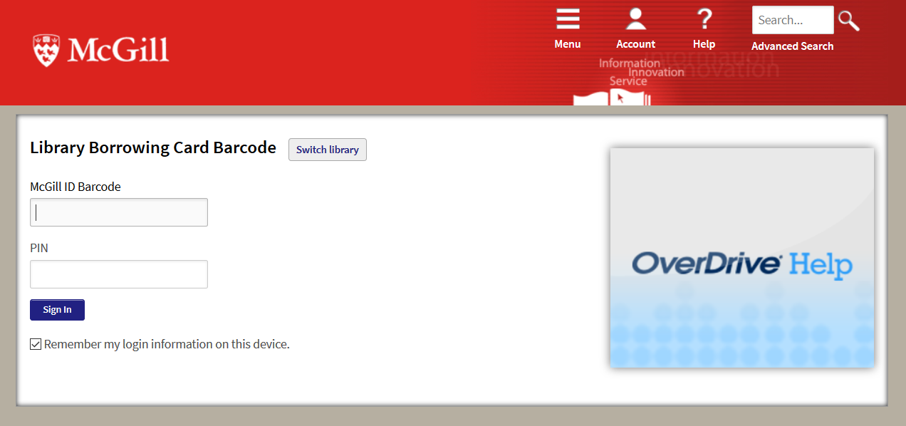 Screenshot showiing the Library Borrowing Card Barcode sign-in page.