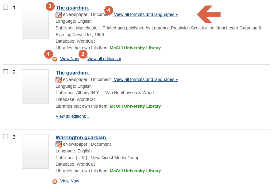 "Screenshot of the search results for the word ""guardian"" showing the various links you can use to access the document itself, or information about it.  Number 1 is next to a link that says ""View Now"", number 2 is next to a link that says ""View all editions"", number 3 is next to the title,  and number 4 is next to a link that says ""View all formats and languages"""