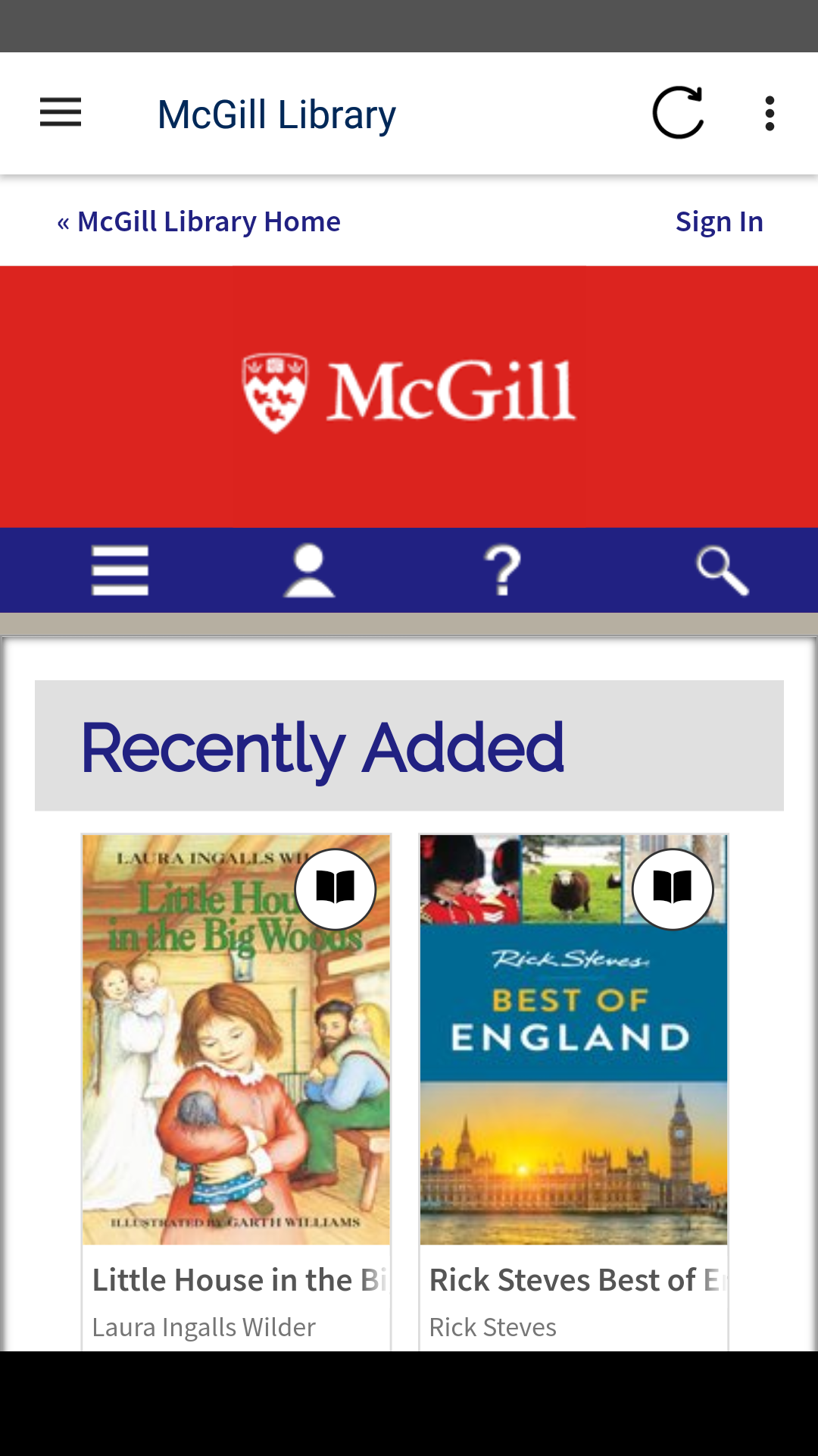 Screenshot of the McGill OverDrive home page on a Android Phone