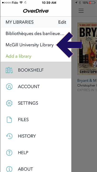 Screenshot of the Overdrive app on iphone, showing the open main menu, with an arrow pointing to the McGill University Library link.