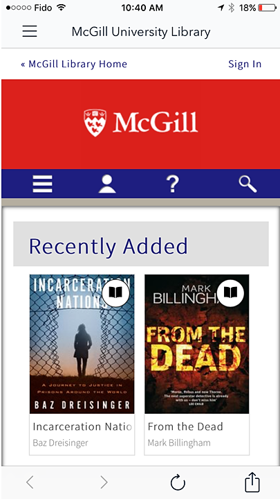 Screenshot of the McGill OverDrive home page