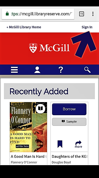 "Screenshot of the McGill OverDrive home page on an Android phone, with an arrow pointing to the top right corner, showing the ""Sign In' link"