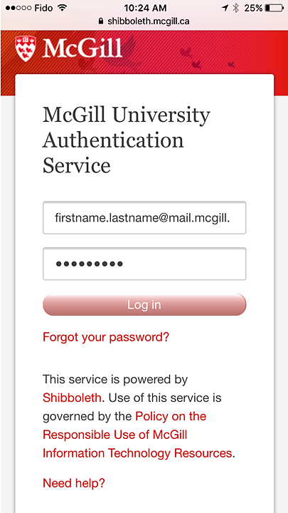 Screenshot of the University Authentication Service login (Shibboleth) on iphone