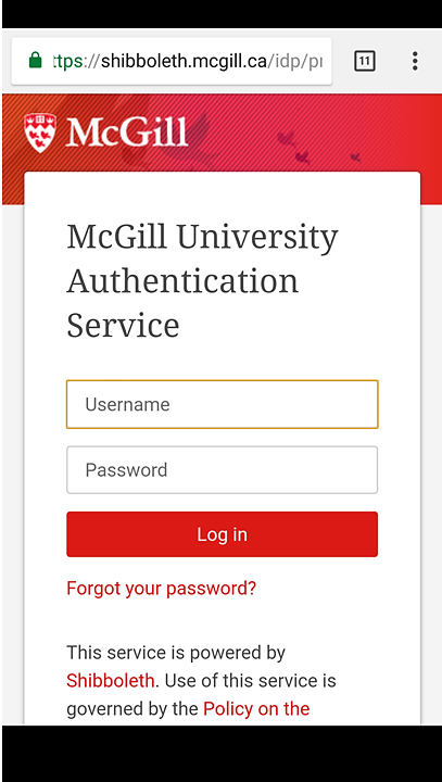 Screenshot of the University Authentication Service login (Shibboleth) on an Android phone