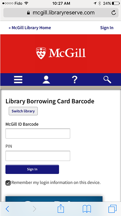 Screenshot showiing the Library Borrowing Card Barcode sign-in page on iphone.