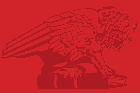 Red block with illustration of a lion on a book.