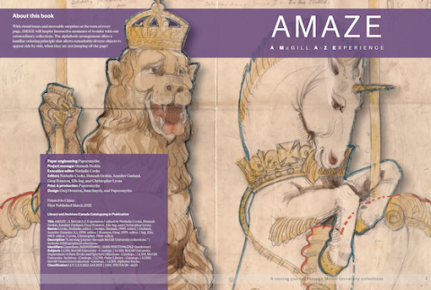 title page of amaze showing a sketch of a lion and a unicorn