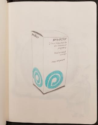 Caroline Boileau, dessin tiré du livre Gravidités, Corps qui hantent d'autres corps, Bibliothèque Osler, 2018-2019