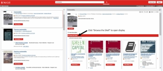 """Image of the catalogue: To use the browse option, open the detailed view of the item record and click """"Browse the Shelf""""."""
