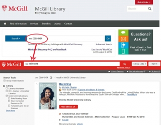 Call number serach - image of search box with example followed by image of item