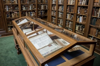 Display case in the Osler Library of the History of Medicine