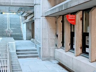 Outdoor returns bin, McLennan-Redpath Library Complex