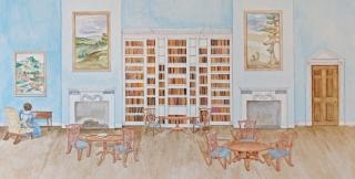 Watercolour depiction of Jane Austen's Godersham Park Library. Credit: Artist Jessica Irene Joyce