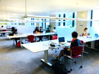 Students studying in the Cybertheque.