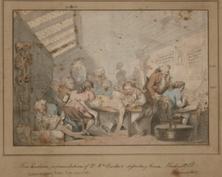 Thomas Rowlandson [London, 1756 – 1827].  Hunter's Dissecting Room, n.d. etching, ink and watercolor.