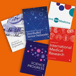 Promotional image featuring covers of Sage journals against an Orange background.