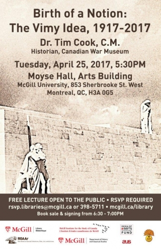Vimy Ridge Lecture poster
