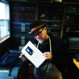 George Walker in the print shop at Gaspereau Press