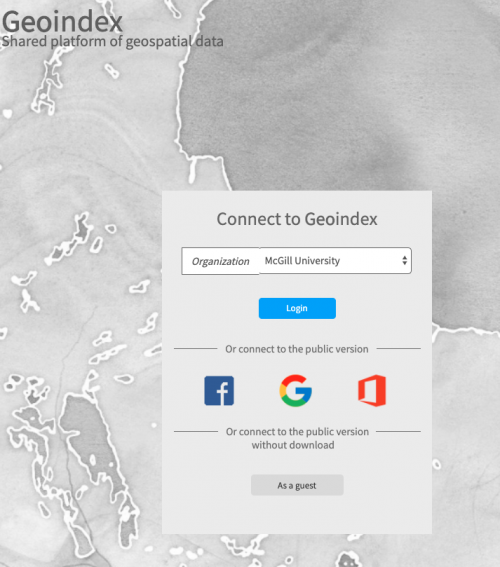 Screenshot of Geoindex platform login.