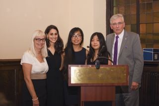 essay contest winners library university from left to right pamela del maestro maria barrette 3rd place winner yi tong 2nd place winner sunny wei and honourary osler librarian dr rolando del