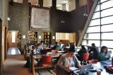 Study area in the Nahum Gelber Law Library featuring Élégie Criblée de Rose by Jean McEwen, gift of Roy L. Heenan © Estate of Jean McEwen / SODRAC (2014)