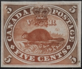 Canadian Beaver stamp, 1851.