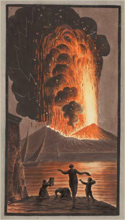"""Eruption of Mount Vesuvius, on Sunday night August the 8th 1779."" by Peter Fabris, a plate to accompany Sir William Hamilton's Campi Phlegraei (Naples, 1779). This copy: Osler Library (Osler Room), elf QE 523 V5 H222s 1779."